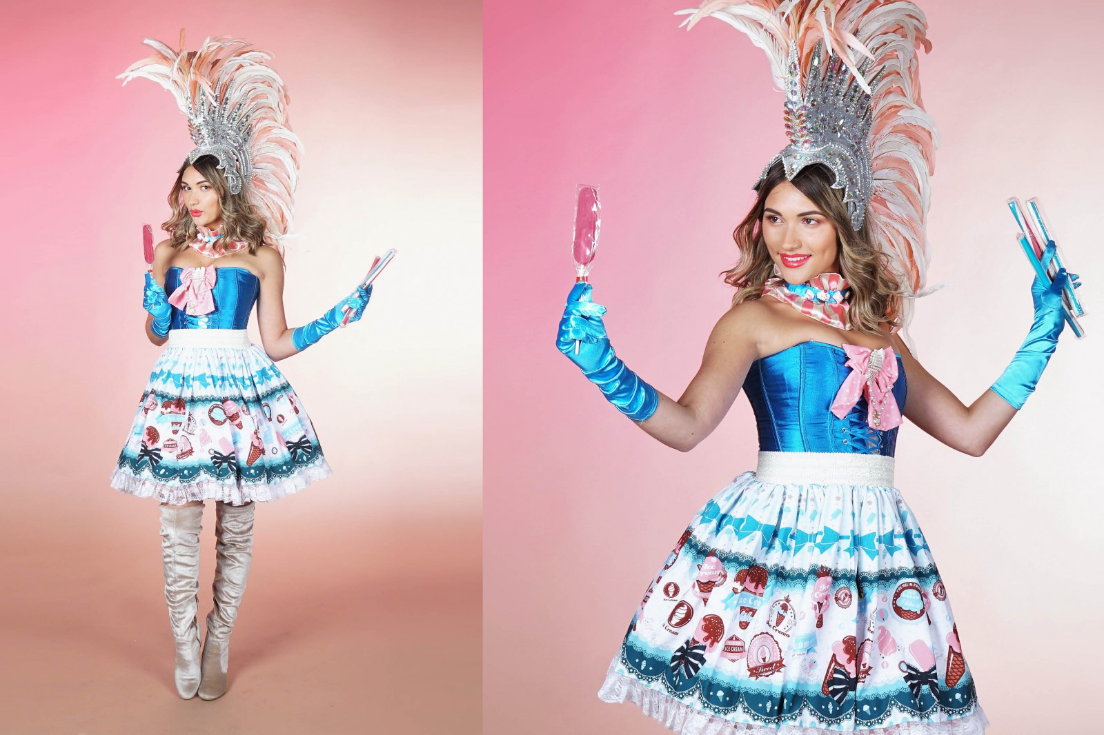 cany girl, roze candy, roze snoepdame, thema evenement, thema feest,