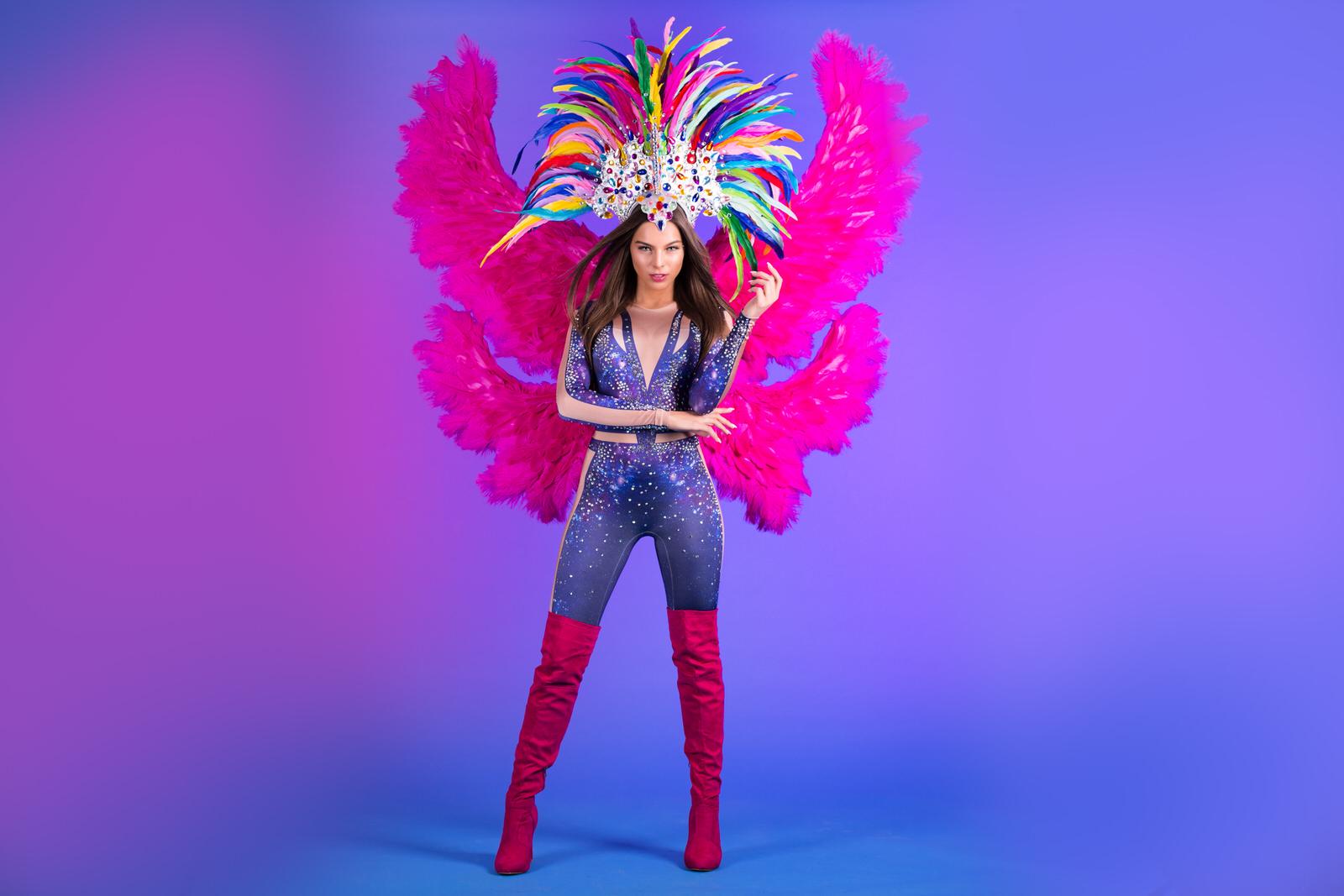 Purple dream, thema kostuum, colorfull angel, thema kostuum, entertainment, mobiel entertainment