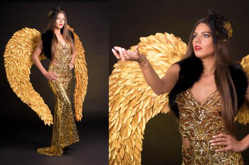 Gold Girl, Gold Angel, Gold Theme, gouden promotiedame, Gouden Engel, James Bond Girl, Masquerade ball, Masquerade dame, Casino Angel, Lucky Angel, Kerst Engel.