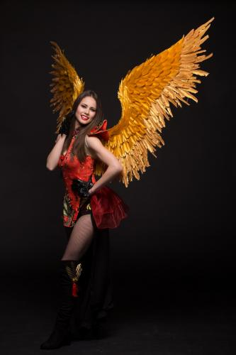 Japanse Danseres, Aziatische Thema Events, Rood, Mysterieuse Beauty, Duivels, Halloween, Aziatische Entertainment, Japanse Engel, Golden Wings.