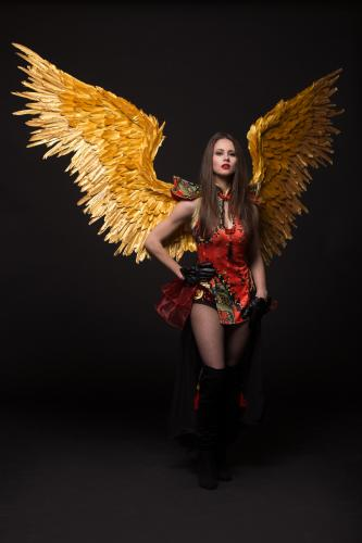 Japanse Danseres, Aziatische Thema Events, Rood, Mysterieuse Beauty, Duivels, Halloween, Aziatische Entertainment, Japanse Engel, Golden Wings, Power Woman.