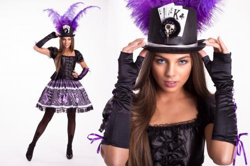 Mad Hatter, Alice in Wonderland, Kaartenspel dame, Casino Girl, Joker, Thema Dames, Promotionteam, Purple Magic.