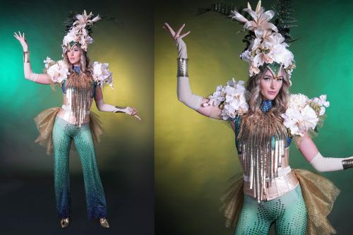 thema kostuum, Golden flower, gouden bloemen, bloemen thema, goud thema, thema event, mobiel entertainment