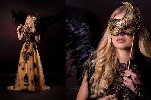 Vip-Angel, Venetiaanse Dames, Gemaskerd Gala, Exclusive Ball, Ball Masque, Masquerade, Avondkleding, Black Wings, Gala Angel, Secret Beauty, Thema Dames, Hostess, Mysterious Black.