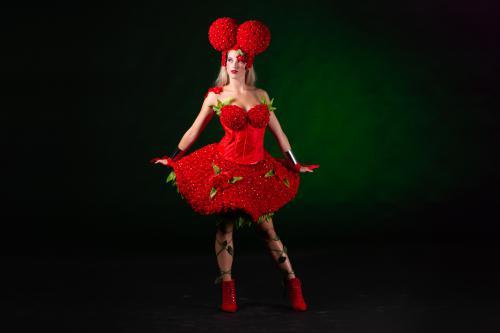 Valentijns dame met cupcakes, Cupcake Girl, Candy Girl, Candy dames, Rozen kostuum, Rozendame met sweets, Valentijn, Food entertainment, Luxe Catering act