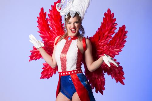 American, USA, Star, Showgirl, Las Vegas, Chearleading, Show Dancer, Freestyle Dancer, Entertainment, USA Angel, Pailletjes, Red Wings, Party Animal.