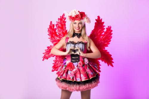 Valentine Girl, Roses, Valetijnsdag, Love Angel, Entertainment, Promotie Dame, Themadame, Pink Lady, Liefde, Flower Girl, Hartjes Dame.