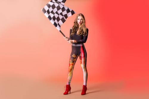 speed, vlaggendame, racing, pitspoes, snelheid, racetrack, raceauto