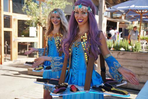 Aqua, Zeesterdame, Strand event, Beachclub promotie,Mermaid, Sea Princess, Ariel, Entertainment, Themadames, Mermaid Dancer, Pearls, Golden Wings, Sea Angel