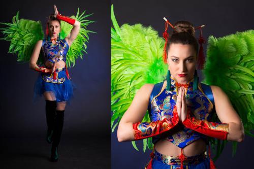 Chinees Nieuwjaar, Hostessjurk, Aziatische thema events, Blue.
