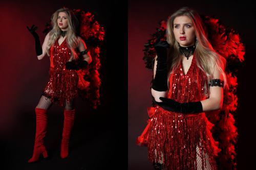 Moulin Rouge, Valentijn, Valentijn dame, Dress, Rood, Liefde, Boa, hart, Liefdethema, Valentijnthema, Rozenthema