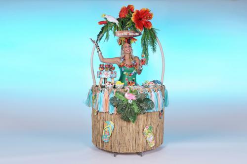 Hawaii kostuum, hawaii thema, thema kostuum, thema entertainment, aloha kostuum, mobiel entertainment, welkomst acts, welkomst host, tiki bar, candy girl