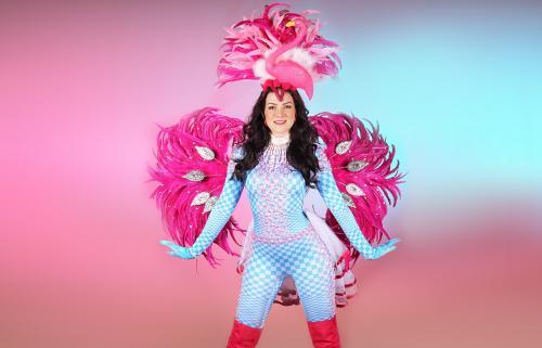 Zomer thema, thema kostuum, flamingo kostuum, flamingo thema, thema event, candy girl, flamingo candy