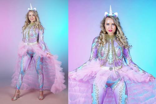 Unicorn, thema kostuum, knuffeldame, complimenten dame, thema event, thema entertainment