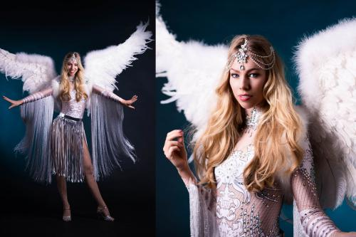 Snow Angel, White Angel, Winterssprookje, Danseres, Freestyle Dancer, Thema Dames, Christmas Angel, Entertainment.