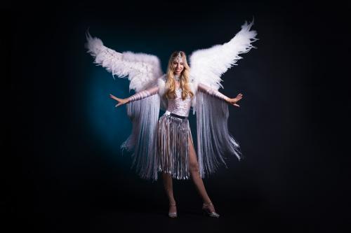 Snow Angel, White Angel, Winterssprookje, Danseres, Freestyle Dancer, Thema Dames, Christmas Angel, Entertainment.