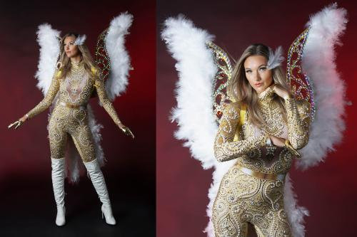 Goud, engel, gold, angel, themakostuum, outfit, entertainment, event, evenement, luxe, feest