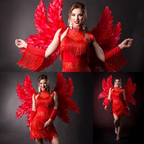 Zomer Carnaval Danseres, Salsa, Samba, Zomerse Thema's, Ibiza,Charleston, Swingen, Thema Dancer, Summer Carnaval Angel, Red Wings, Entertainment.