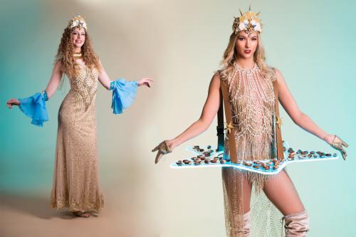 Seashell Lady, Onderwaterwereld, Seaworld Promotion, Food Entertainment, Fantasy Evenementen, Culinair Entertainment, Thema Dames, Elegant Entertainment.