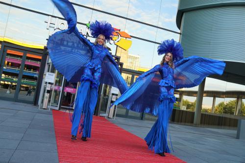 Steltenloper, blauw, kleurthema, thema kostuum, stiltwalker, mobiel entertainment