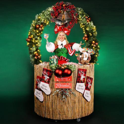 christmas, x-mas, holly jolly, ho ho ho, santa, kerstman, bar, sweets, treats, treat table, strolling table, walking table, food, foodentertainment