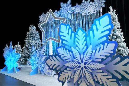 Winter, winter wonderland, snow, white, ice blue, photobooth, photocorner, fotobooth, fotocorner, picture, foto, polaroid, polaroidcamera, dennenboom, led, led ster, fotoframe, photoframe, decoratie, eventdeco, eventstyling, activatiebooth, activatietool