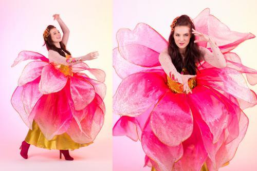 Rozenkostuum, bloemenmeisje, roze, summerevent