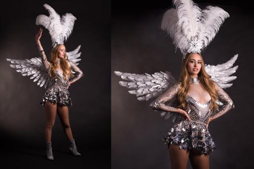 Zilveren engel, Angel kostuum, spiegeldame, spiegelpak, kerst, liefde