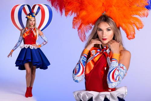 Hollandse themadame, Helemaal Hollands, Haringmeisjes, Haring Party, Klompendames, Tulpendames, Delfsts Blauw, Holland Jurk, Hollanse Glorie, Flying Dutch, Kaasdame