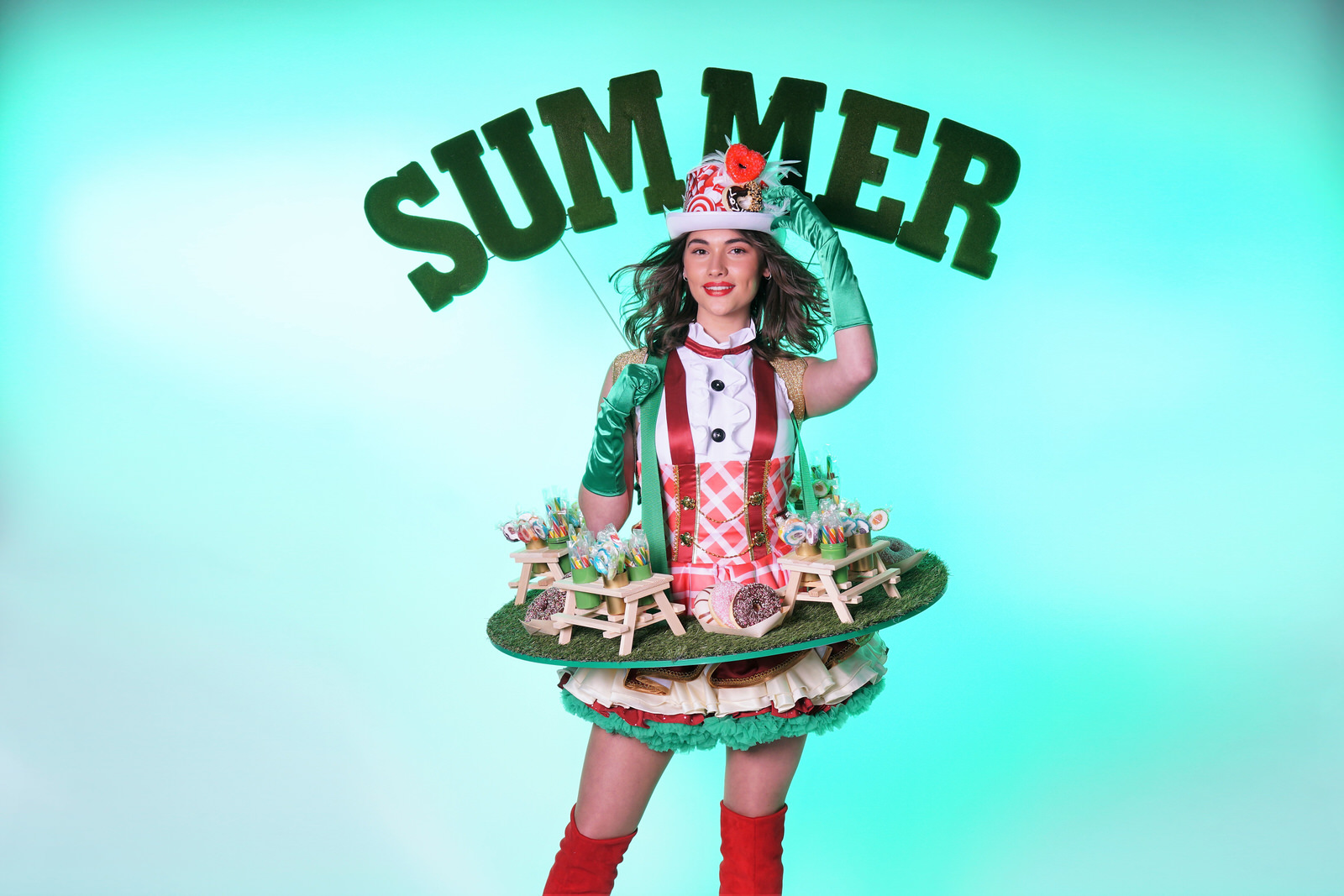 Levende glamour Tafel in summer styling als Summer Ladies. Summer Girls, Catering Act, Candy Girls, food entertainment
