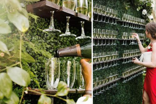 Champagne wall, welkomstdrankjes, welkomst entertainment, onvangst, uniek concept, Cava, Prosecco