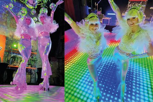 Roller girls, roller skate, rolschaats dames, disco,  skate entertainment, rollerskates entertainment,  thema event