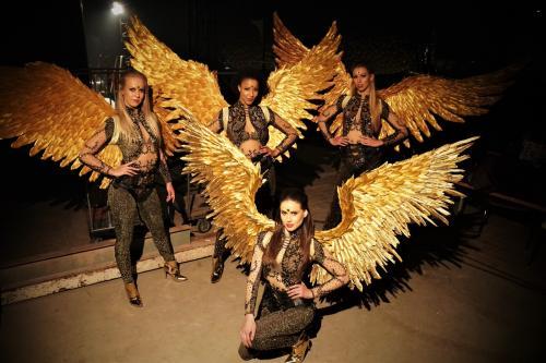Vliegende engelen in Gold thema met handgemaakt engelen vleugels uit echte veren. Aerialisten, danseressen, show ballet, Valentijns act, Geluksengelen, Gold Angels, Gold Girls James Bond, Zwevende Danseressen,  Danser huren, Danseres huren.