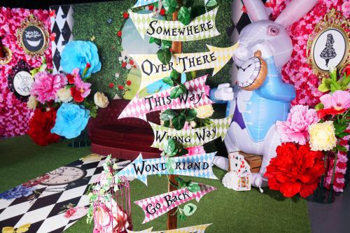Alice in Wonderland, Pasen decor, Easter decoratie, decoratieverhuur, fotobooth, instabooth, thema aankleding, polaroid entertainment, entertainers, winkelcentrum promotie
