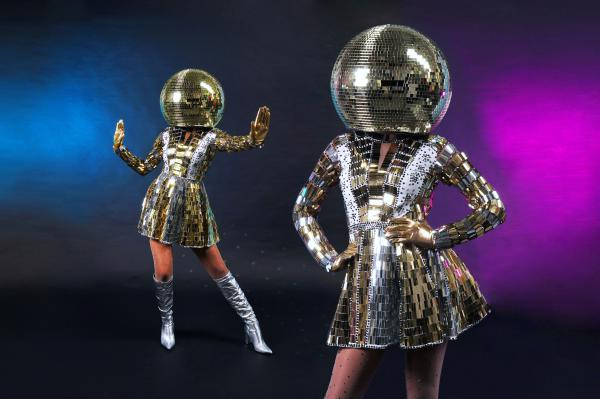Human Discoball, Discobal huren, danseressen event, disco dansers boeken