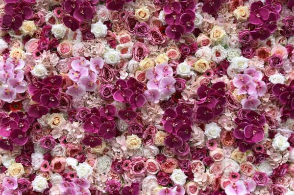 Bloemenmuur, Flowerwall, orchidee, decoratie, backdrop fotomuur