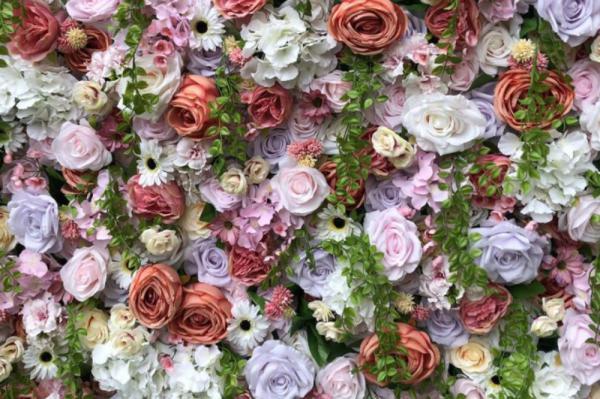Bloemenmuur, Flowerwall, brocante, vintage, decoratie, backdrop fotomuur