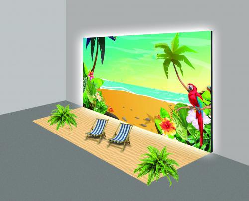 Mock-up van Caribische fotowand, Hawaii, Caribbean, fotobooth event decoratie, event decors, aankleding